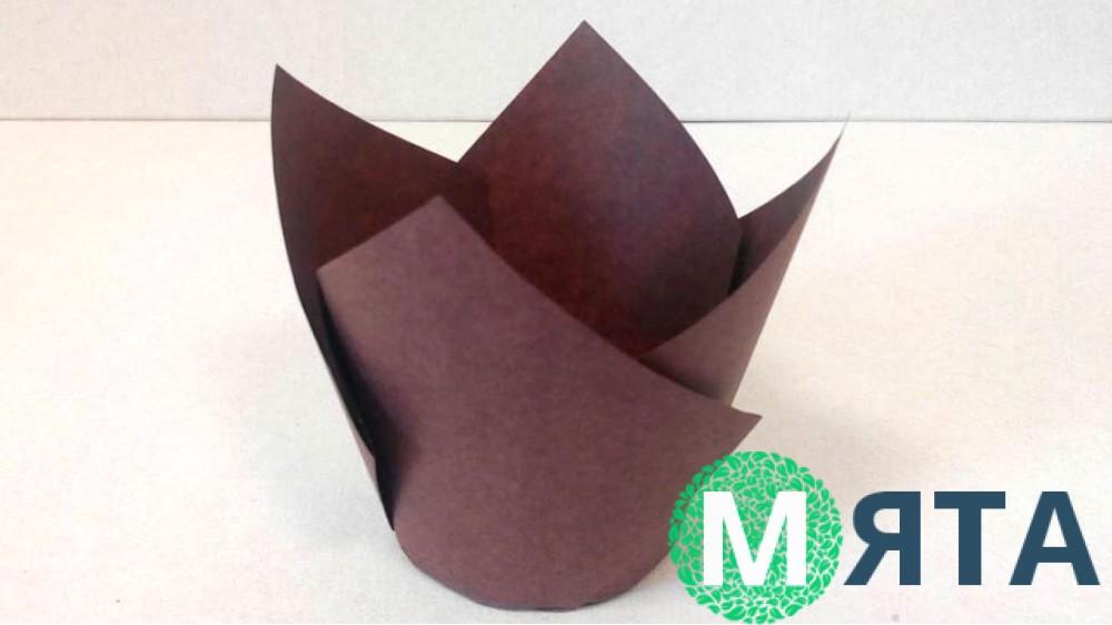 Бумажная форма Тюльпан коричневый