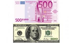Картинка Доллары и евро (2 купюры)