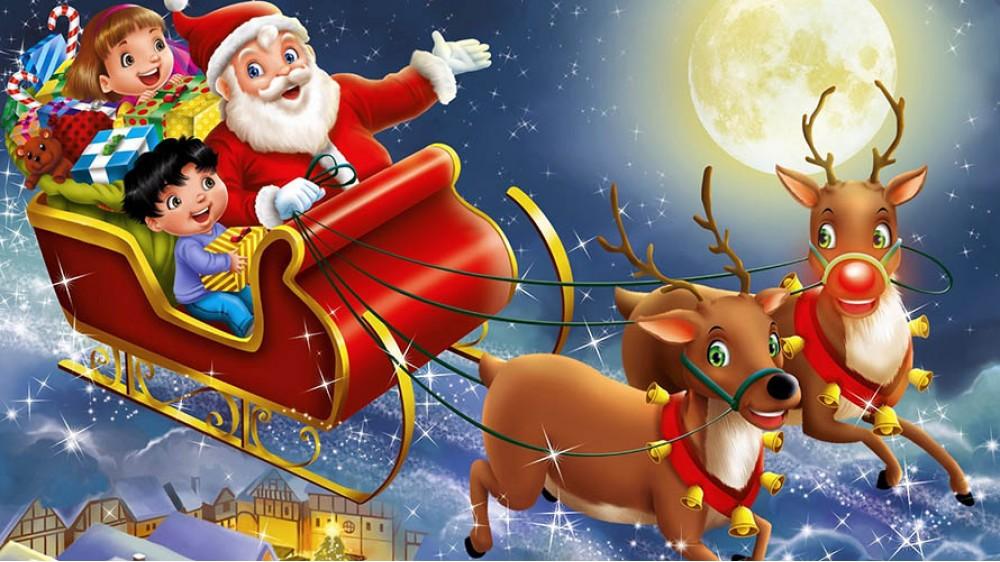Санта-Клаус на оленях