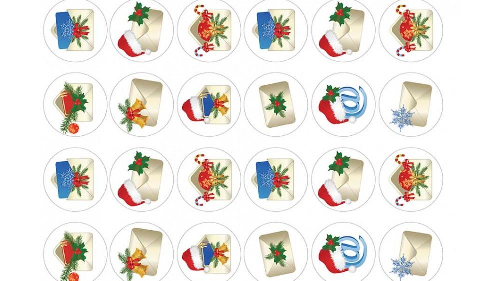 Картинки на капкейки Новогодние Конвертики