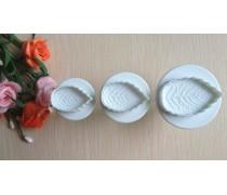 Плунжеры для мастики Листья розы. 3 штуки