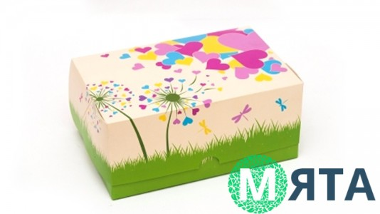 Коробка 18х12х8 см (2 капкейка) Сердечки
