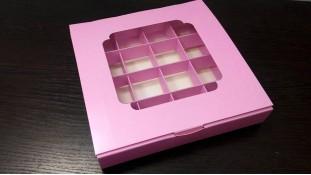 Коробка для конфет, 16 штук, розовая