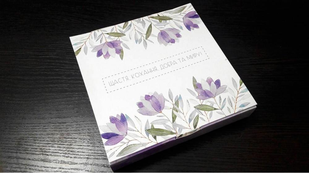 Коробка для конфет, 16 штук, Сиреневые цветы