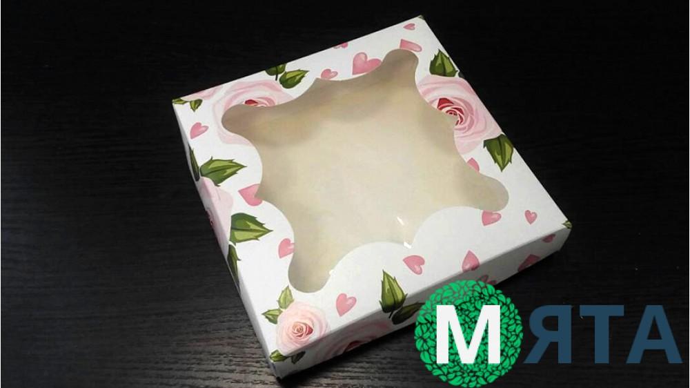 Коробка для пряников, 15х15 см, розы