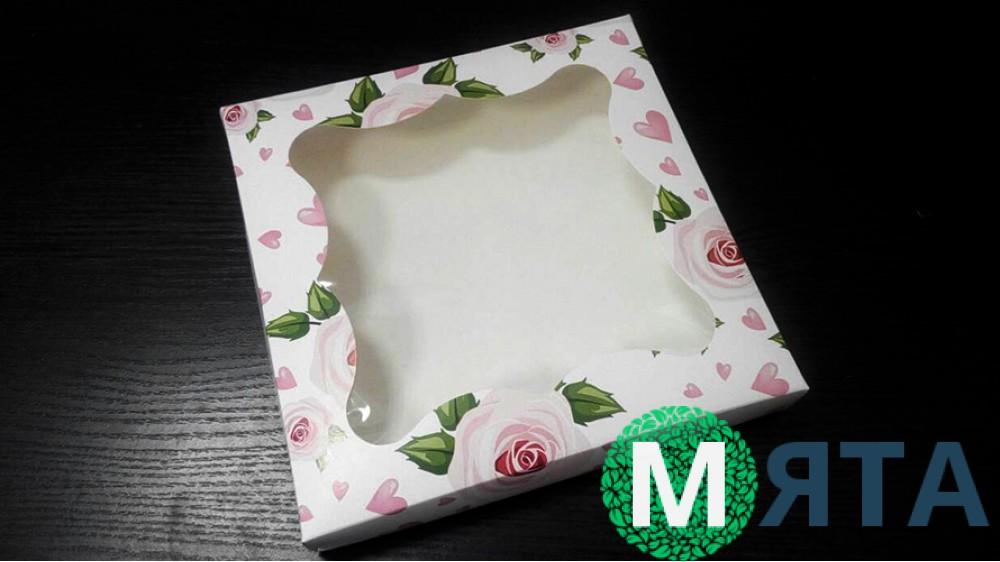 Коробка для пряников, 20х20 см, розы