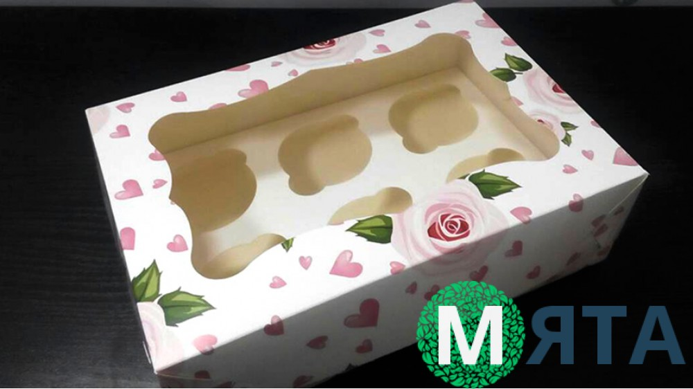 Коробка на 6 капкейков, Розы