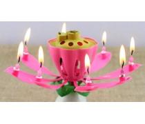 Музыкальная свеча для торта цветок Лотос