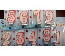 Свечи цифры в красном контуре