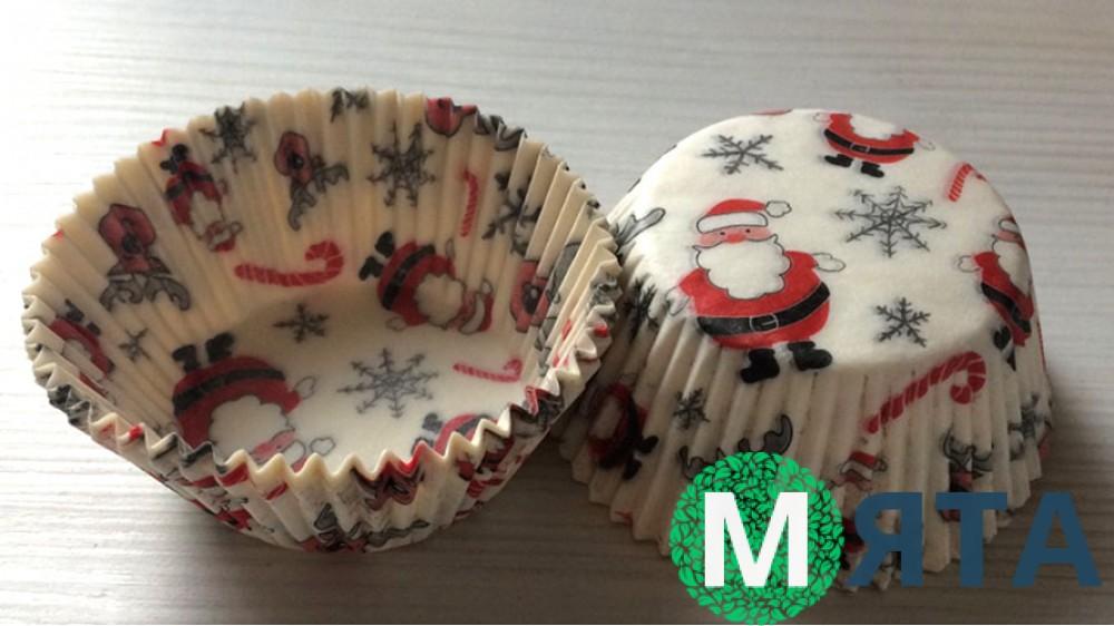Бумажная форма рифленная 50х30, Дед Мороз