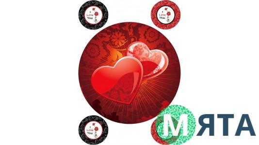 Картинка на торт Сердца