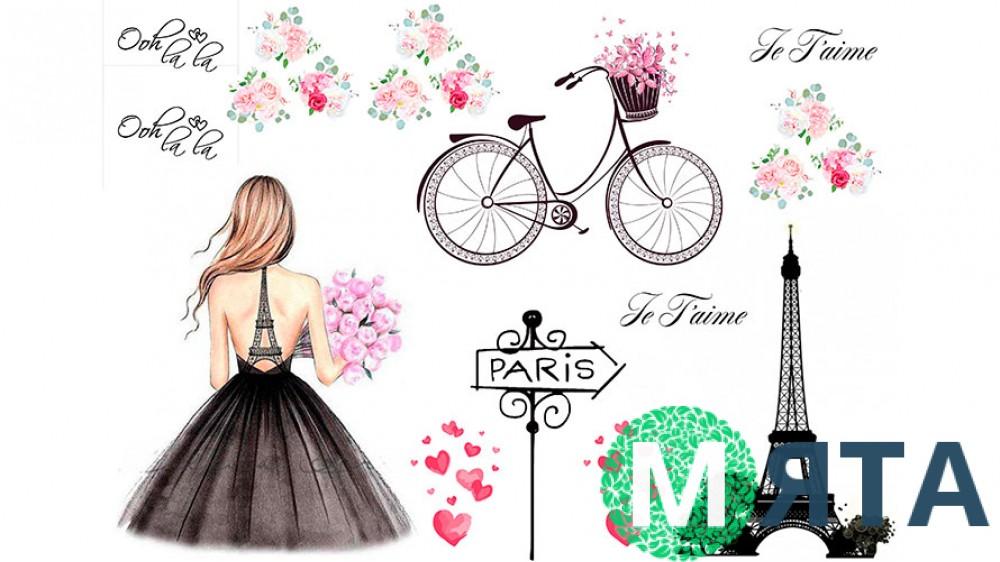 Съедобная картинка Девушка в Париже 2
