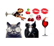 Бетмен+кот+девушка в стакане