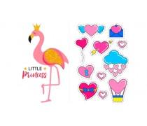 Съедобная картинка с Фламинго +сердечки
