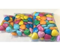 Драже молочный шоколад Разноцветные Сердца №1 Темные