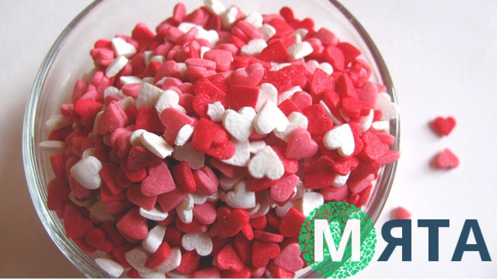 Сахарная посыпка Сердечки красно-белые-розовые