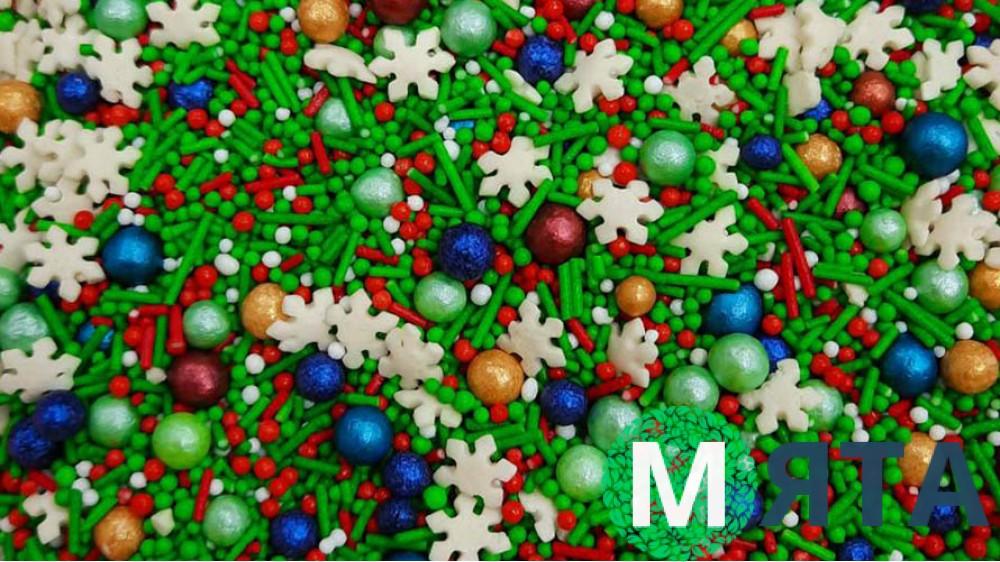 Сахарная посыпка Микс с шариками №14. Зеленый
