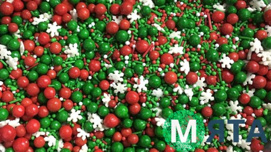 Сахарная посыпка Микс с глянцевыми шариками №9. Красно-зеленый