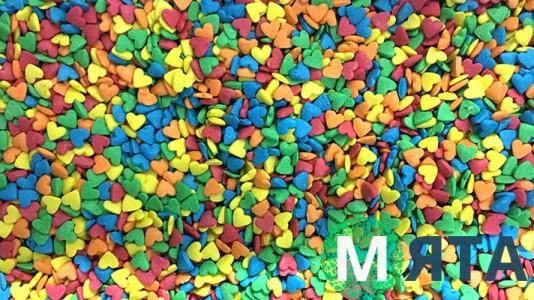 Сахарная посыпка Сердечки №1 разноцветные