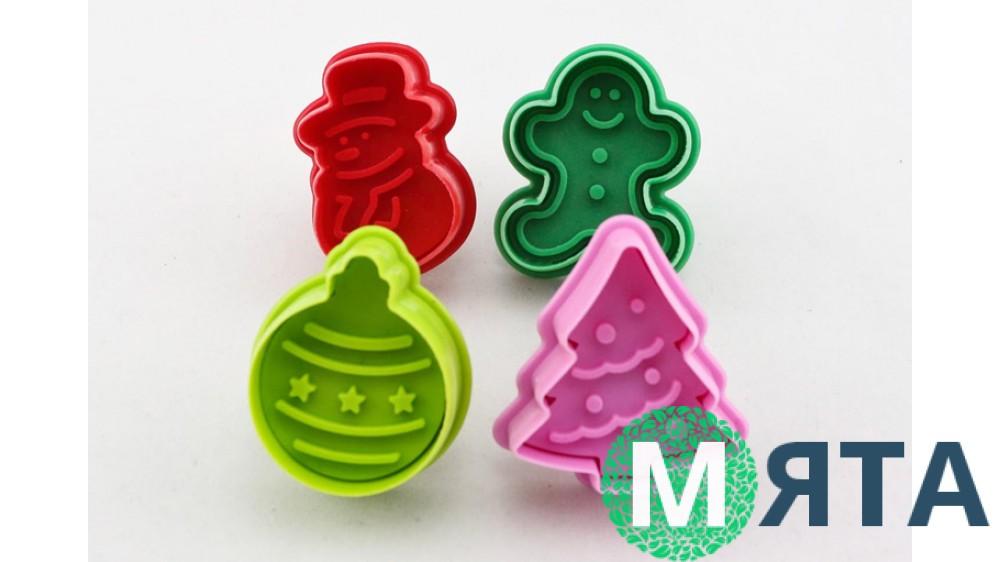 Плунжеры для мастики Новогодние. 4 штуки