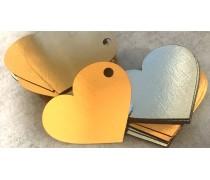 Бирка Сердце, картон золото/серебро