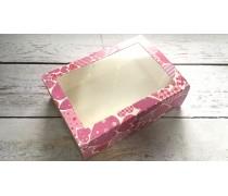 Коробка 11,5х15,5х5 см с окном Розовые Сердца