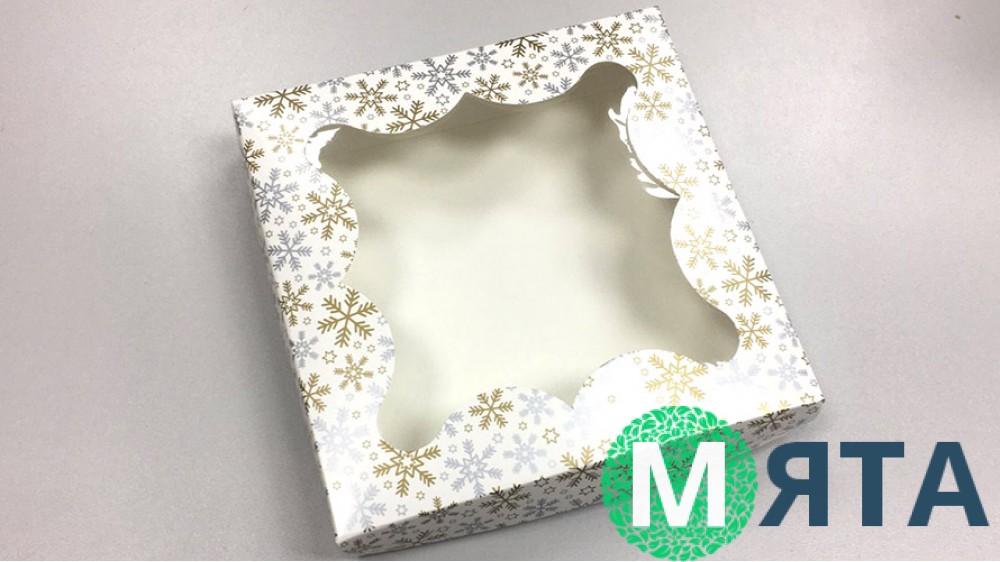 Коробка 15х15х3 Золотые Снежинки, Белая
