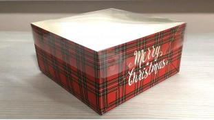 Коробка 16х16х8 (4 капкейка) Новогодняя Красная