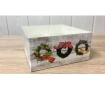 Коробка 16х16х8 (4 капкейка) Новогодняя с прозрачной крышкой