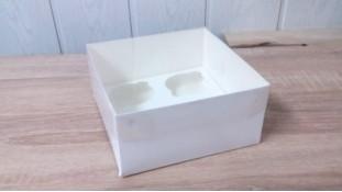 Коробка 16х16х8 (4 капкейка) с прозрачной крышкой