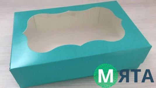 Коробка 23х15х6 см Бирюзовая с окошком