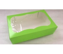 Коробка 23х15х6 см Зеленая с окошком