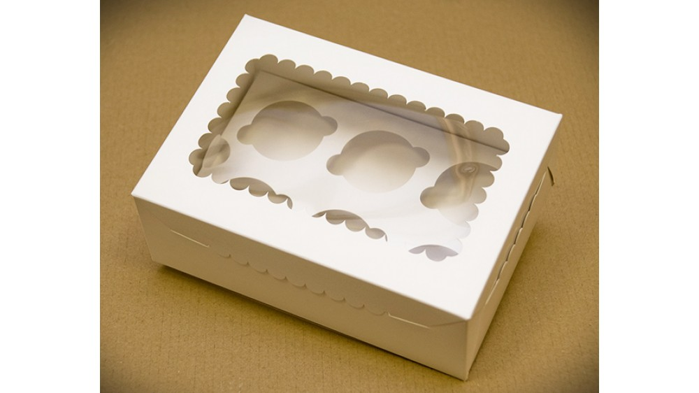 Коробка с окошком для 6 капкейков