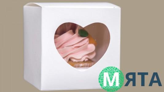 Коробка для 1 капкейка, окошко-сердце