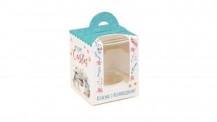 Коробка для 1 капкейка, с ручкой, Easter