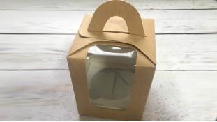 Коробка для 1 капкейка, с ручкой, Крафт