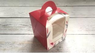 Коробка для 1 капкейка, с ручкой, Красная