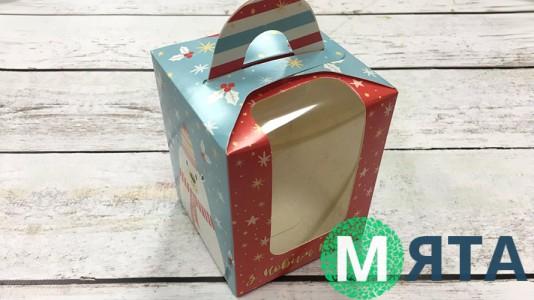 Коробка для 1 капкейка, с ручкой, Мишка