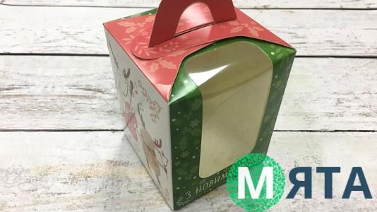 Коробка для 1 капкейка, с ручкой, Олени