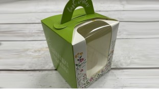Коробка для 1 капкейка, с ручкой, зеленая