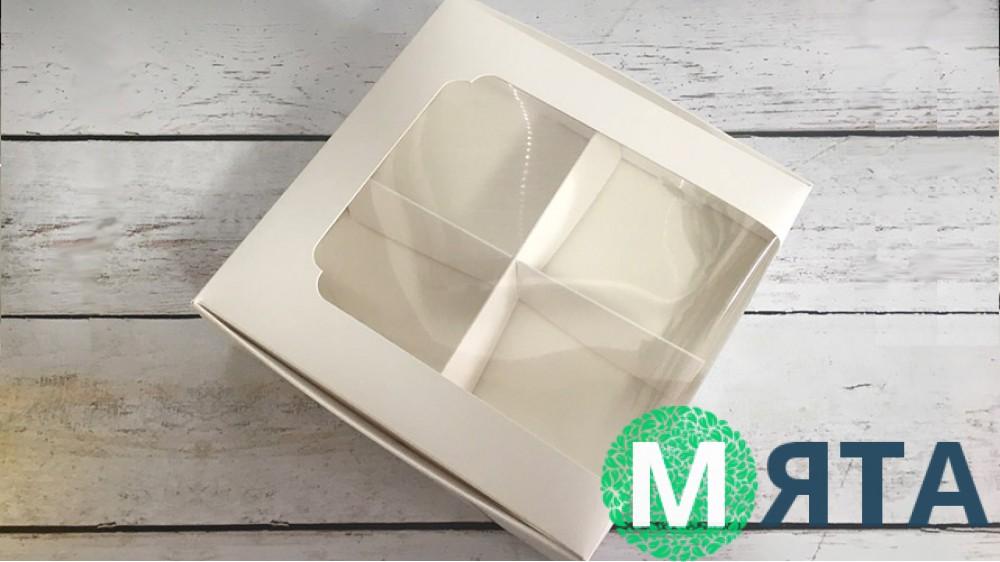 Коробка для десертов 20х20х6 см, белая