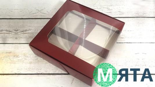 Коробка для десертов 20х20х6 см, бордо