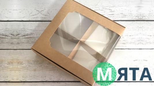 Коробка для десертов 20х20х6 см, крафт