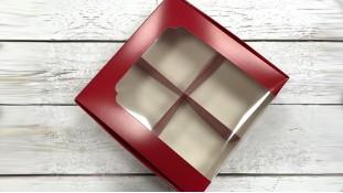 Коробка для десертов 20х20х6 см, красная