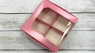 Коробка для десертов 20х20х6 см, розовая