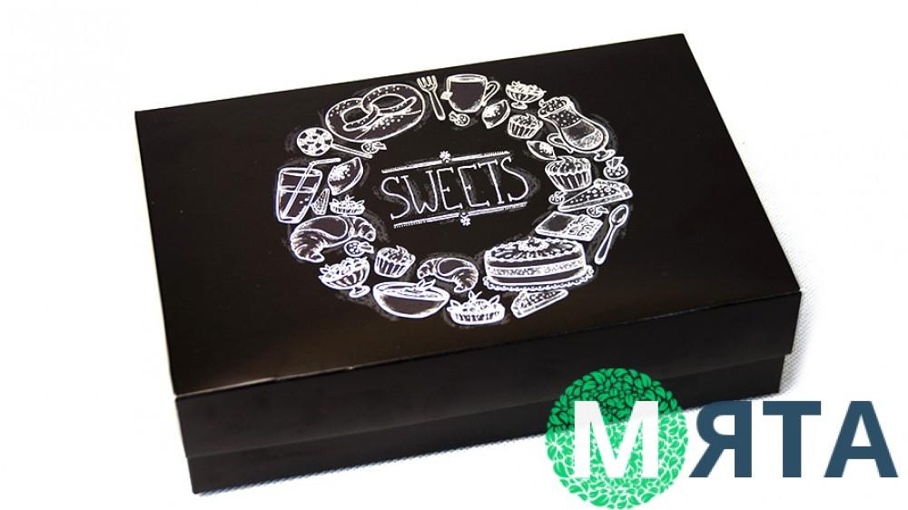 Коробка для эклеров и десертов Черная SWEETS