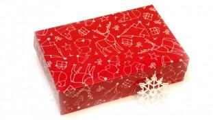 Коробка для эклеров и десертов Новогодняя Красная