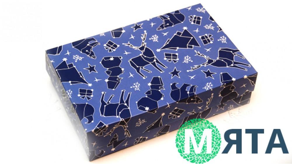 Коробка для эклеров и десертов Новогодняя Синяя