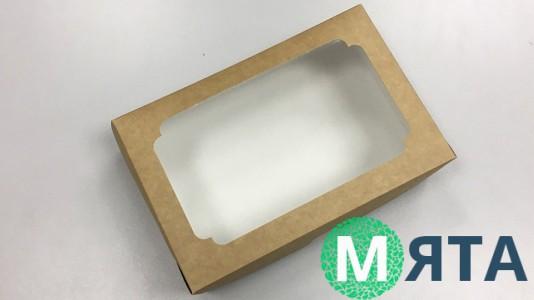 Коробка для эклеров с окном, Крафт