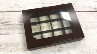 Коробка для конфет, 12 штук, Коричневая